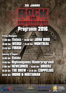 Rock im Hinterland 2016 Programm